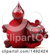 Clipart Of A 3d Red Bull On A White Background Royalty Free Illustration