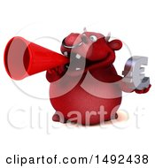Poster, Art Print Of 3d Red Bull On A White Background