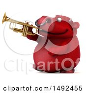 Clipart Of A 3d Red Bull Character Playing A Trumpet On A White Background Royalty Free Illustration