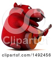 Clipart Of A 3d Red Bull Character Playing A Guitar On A White Background Royalty Free Illustration