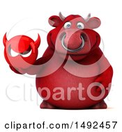 Clipart Of A 3d Red Bull Character Holding A Devil Head On A White Background Royalty Free Illustration