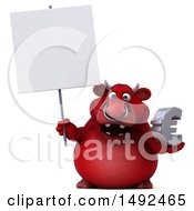 Poster, Art Print Of 3d Red Bull Character Holding A Euro Symbol On A White Background