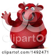 Clipart Of A 3d Red Bull Waving On A White Background Royalty Free Illustration