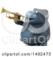 Clipart Of A 3d Gorilla Playing A Trumpet On A White Background Royalty Free Illustration