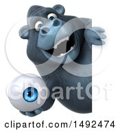 Clipart Of A 3d Gorilla Holding An Eyeball On A White Background Royalty Free Illustration