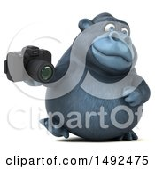 Clipart Of A 3d Gorilla Holding A Camera On A White Background Royalty Free Illustration
