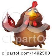 Clipart Of A 3d Chubby Brown Chicken Holding A Blood Drop On A White Background Royalty Free Illustration