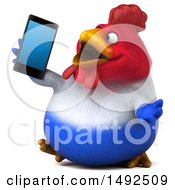 3d Chubby French Chicken Talking On A Smart Phone On A White Background