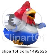 Poster, Art Print Of 3d Chubby French Chicken Holding A Euro Symbol On A White Background