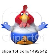Clipart Of A 3d Chubby French Chicken Meditating On A White Background Royalty Free Illustration