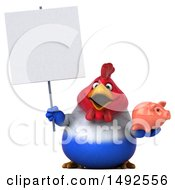 Poster, Art Print Of 3d Chubby French Chicken Holding A Piggy Bank On A White Background