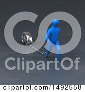 Clipart Of A 3d Blue Man Chained To A Car Royalty Free Illustration