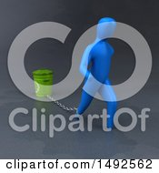 Clipart Of A 3d Blue Man Chained To A Recycle Bin Royalty Free Illustration