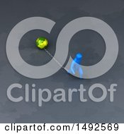 Clipart Of A 3d Blue Man Chained To A Globe Royalty Free Illustration