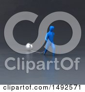 Clipart Of A 3d Blue Man Chained To A Ball On A Gray Background Royalty Free Illustration
