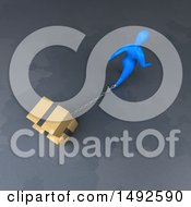 Clipart Of A 3d Blue Man Chained To Boxes On A Gray Background Royalty Free Illustration