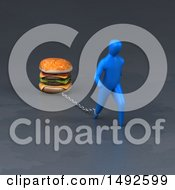 Clipart Of A 3d Blue Man Chained To A Burger On A Gray Background Royalty Free Illustration