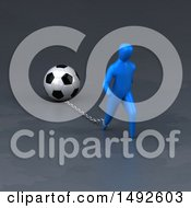 Clipart Of A 3d Blue Man Chained To A Soccer Ball On A Gray Background Royalty Free Illustration
