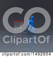 Clipart Of A 3d Blue Man Chained To A Shopping Cart On A Gray Background Royalty Free Illustration