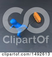 Clipart Of A 3d Blue Man Chained To A Hot Dog On A Gray Background Royalty Free Illustration