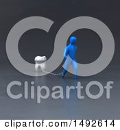 Clipart Of A 3d Blue Man Chained To A Tooth On A Gray Background Royalty Free Illustration