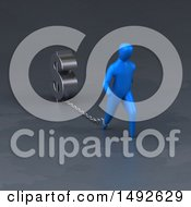 Poster, Art Print Of 3d Blue Man Chained To A Dollar Symbol On A Gray Background