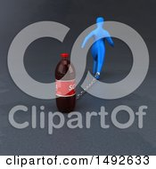 Clipart Of A 3d Blue Man Chained To A Soda On A Gray Background Royalty Free Illustration