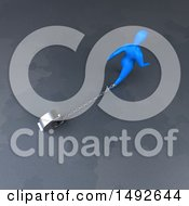 Clipart Of A 3d Blue Man Chained To A Euro On A Gray Background Royalty Free Illustration