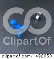 Clipart Of A 3d Blue Man Chained To A House On A Gray Background Royalty Free Illustration