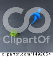 Clipart Of A 3d Blue Man Chained To A Recycle Bin On A Gray Background Royalty Free Illustration