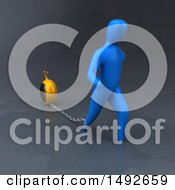 Clipart Of A 3d Blue Man Chained To A Tv On A Gray Background Royalty Free Illustration