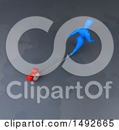 Clipart Of A 3d Blue Man Chained To An Alarm Clock On A Gray Background Royalty Free Illustration