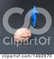 Clipart Of A 3d Blue Man Chained To A Brain On A Gray Background Royalty Free Illustration