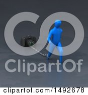 Clipart Of A 3d Blue Man Chained To A Camera On A Gray Background Royalty Free Illustration