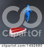 Clipart Of A 3d Blue Man Chained To A Steak On A Gray Background Royalty Free Illustration