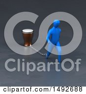 Clipart Of A 3d Blue Man Chained To A Beer On A Gray Background Royalty Free Illustration