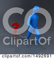 Clipart Of A 3d Blue Man Chained To A Question Mark On A Gray Background Royalty Free Illustration