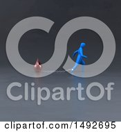 Clipart Of A 3d Blue Man Chained To A Blood Drop On A Gray Background Royalty Free Illustration