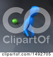 Clipart Of A 3d Blue Man Chained To A Green Apple On A Gray Background Royalty Free Illustration