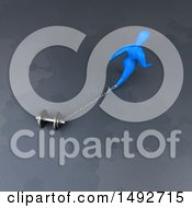 Clipart Of A 3d Blue Man Chained To A Dumbbell On A Gray Background Royalty Free Illustration