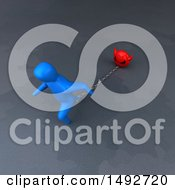 Clipart Of A 3d Blue Man Chained To A Devil On A Gray Background Royalty Free Illustration