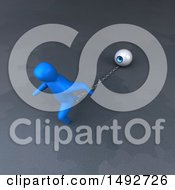 Clipart Of A 3d Blue Man Chained To An Eyeball On A Gray Background Royalty Free Illustration