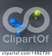 Clipart Of A 3d Blue Man Chained To A Light Bulb On A Gray Background Royalty Free Illustration