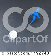 Clipart Of A 3d Blue Man Chained To A Plate On A Gray Background Royalty Free Illustration