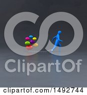 Clipart Of A 3d Blue Man Chained To Social Media Messages On A Gray Background Royalty Free Illustration