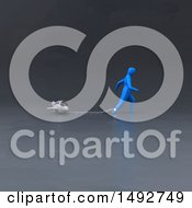 Clipart Of A 3d Blue Man Chained To A Plane On A Gray Background Royalty Free Illustration