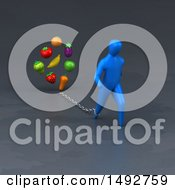 Clipart Of A 3d Blue Man Chained To Produce On A Gray Background Royalty Free Illustration