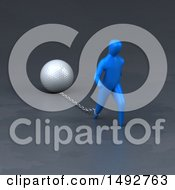 Clipart Of A 3d Blue Man Chained To A Golf Ball On A Gray Background Royalty Free Illustration