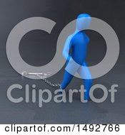 Clipart Of A 3d Blue Man Chained To A Wrench On A Gray Background Royalty Free Illustration