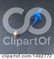 Clipart Of A 3d Blue Man Chained To A Padlock On A Gray Background Royalty Free Illustration